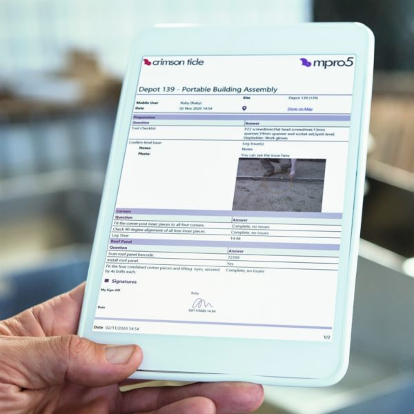 mpro5 report on a white tablet